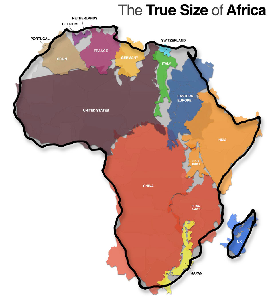 africa map vs usa